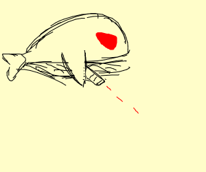 an evil whale shooting lasers