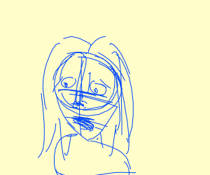 Sketched Blue Scarred Woman