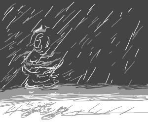 Invisible person in the snow