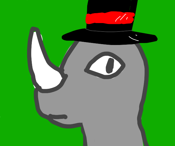 Rino wearing a top hat
