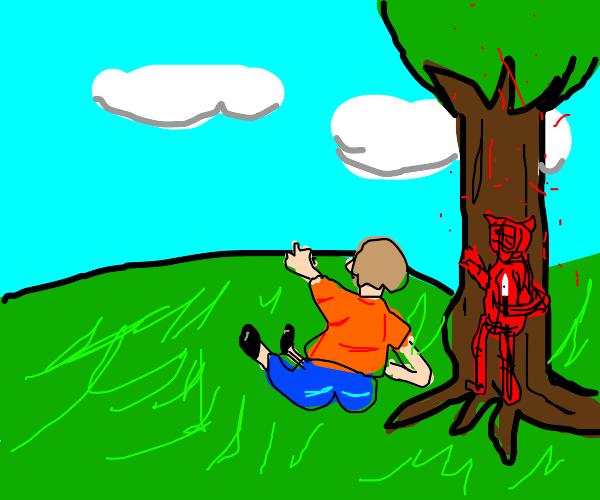 person unsuspecting adevil hiding behind tree