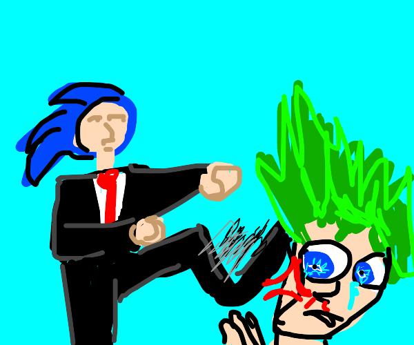 human sonic kicking anime man