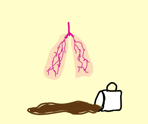 Cofre spilled arround lungs + a mug