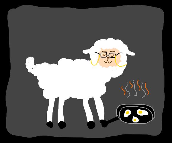 Sheep grandma frying eggs