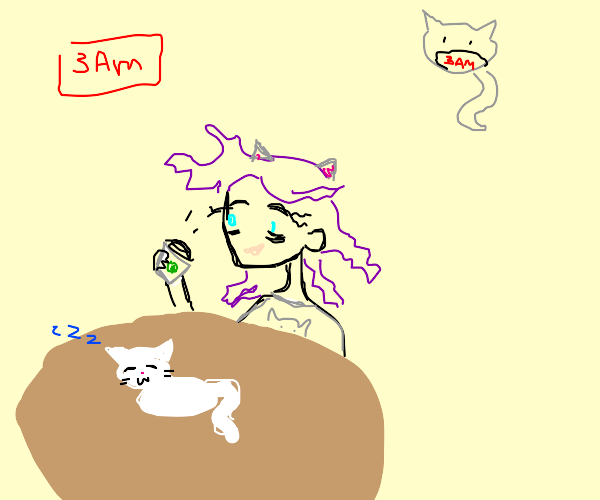 Purple-haired cat lover drinks coffee