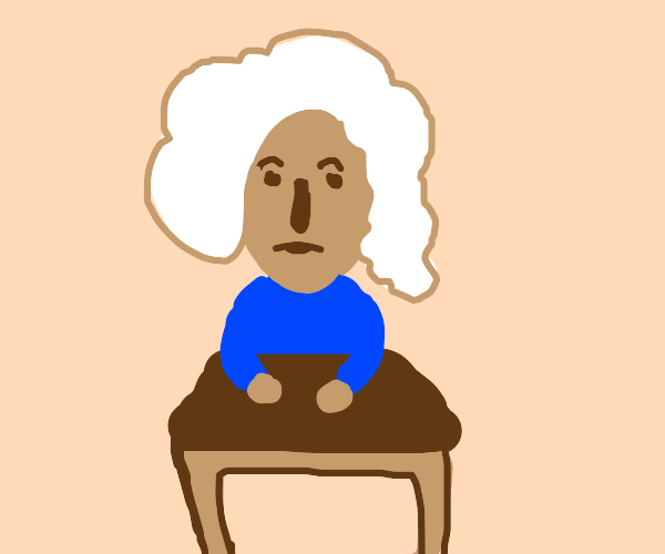 white-hair teen sitting at a school desk