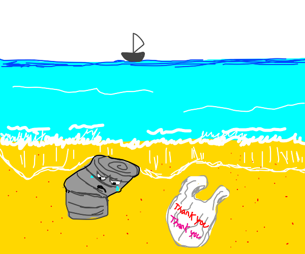 Depressed can on a beach