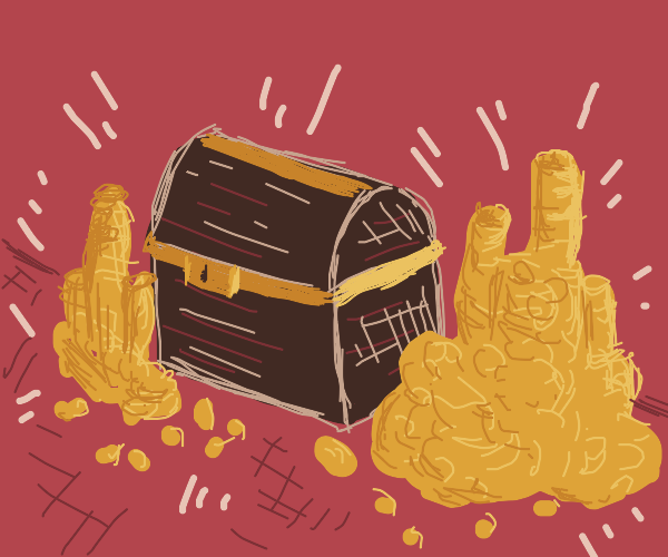 treasure chest surrounded by gold