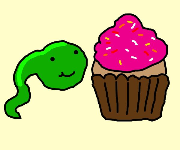 Tadpole enjoys a cupcake! :D