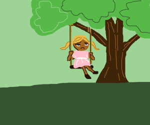 Lonely girl at swing
