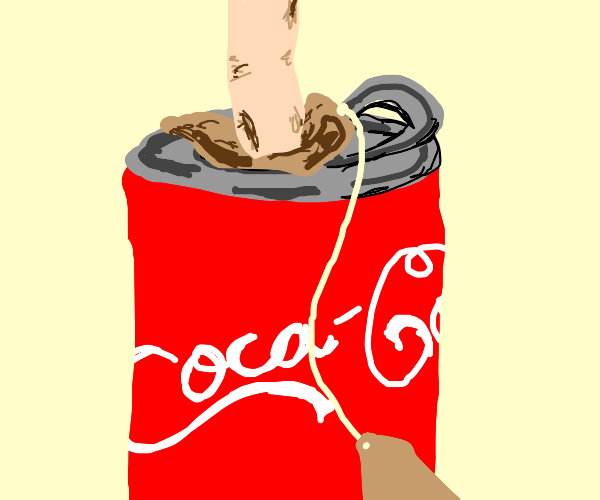 teabag being put into a coca cola can