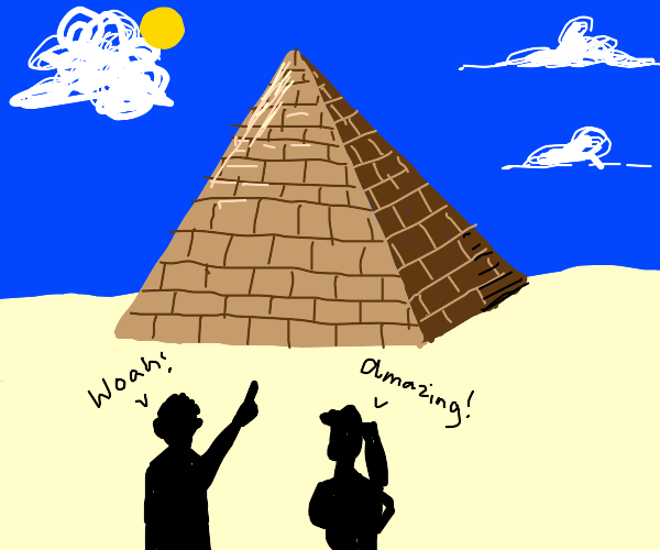 Tourists amazed by a pyramid