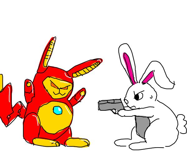 Iron man pikachu with a rabbit and a gun
