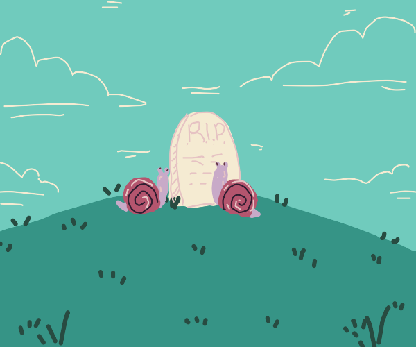 Two snails mourn at their friend graveyard