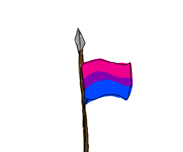 Bi flag on a spear