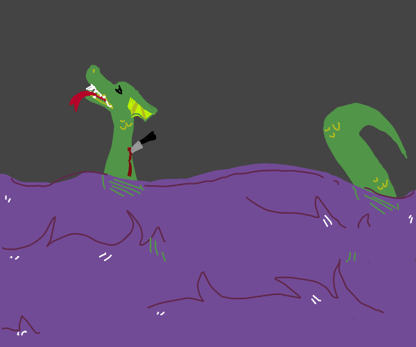 sea dragon getting stabbed by mysterious man