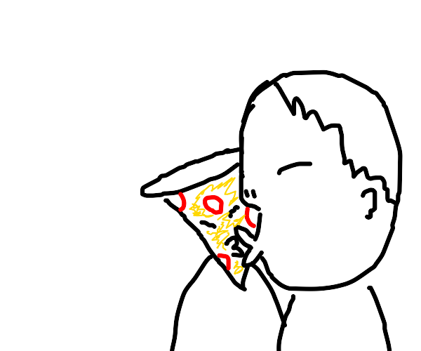 Dude making out with a slice of pizza