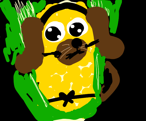 Cob of Corn wearing a dog disguise