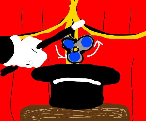 Magician creates fidget spinner