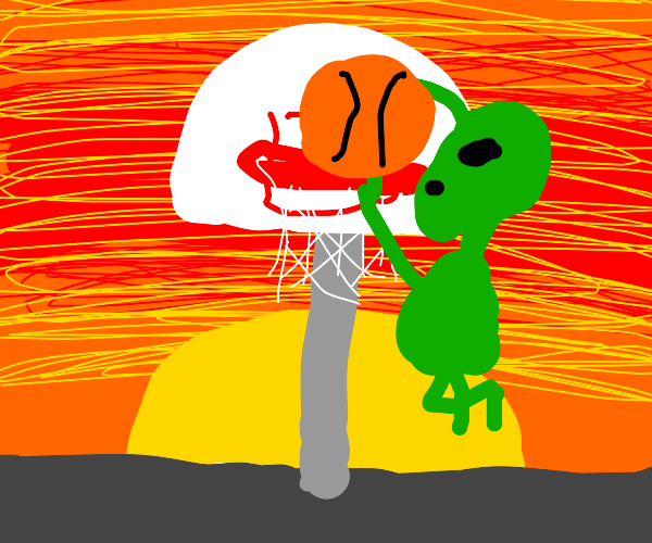 Alien plays Basketball at Sunset