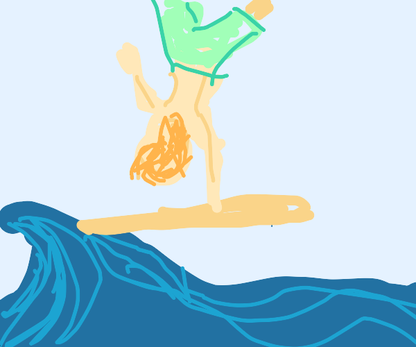 Handstand on a surf board