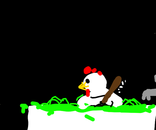 chicken taking a bath in toxic green liquid