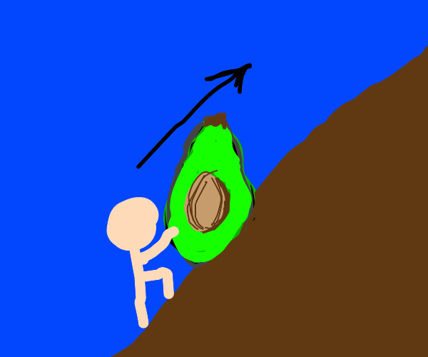 pushing an avocado up a hill