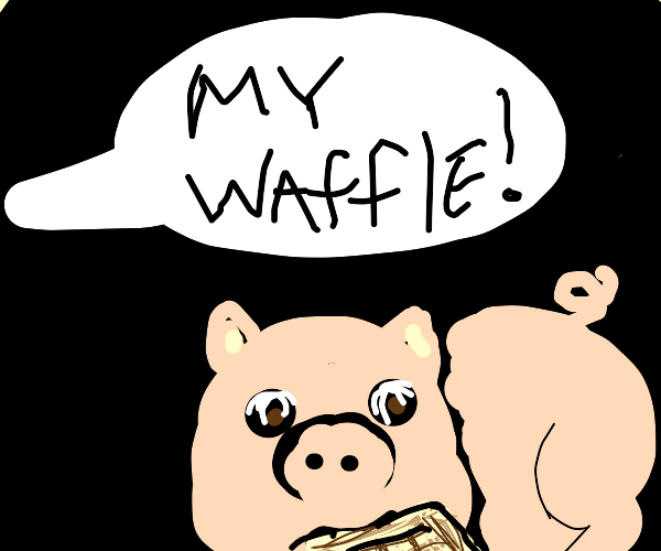 Pig eating a waffle