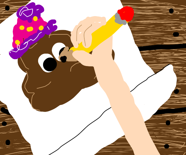 drawing a turd with a birthday hat on