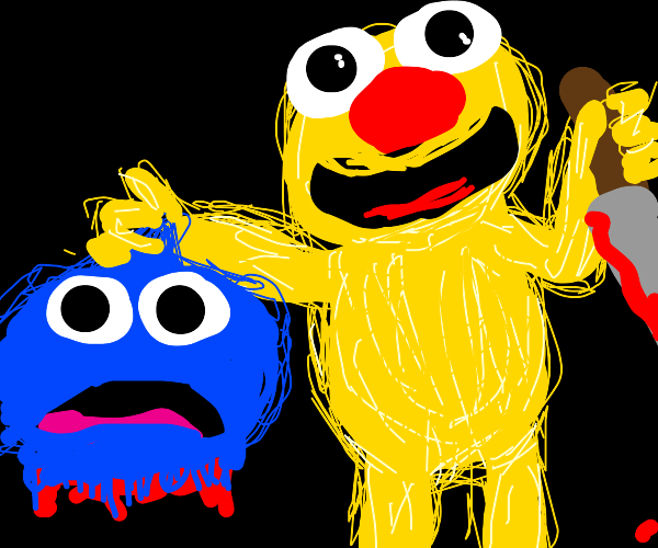 Giant buff Yellmos kill cookie monster
