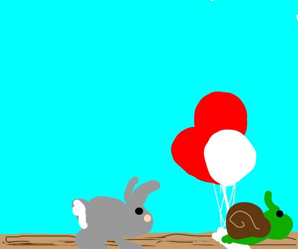 Snail beats bunny in a race