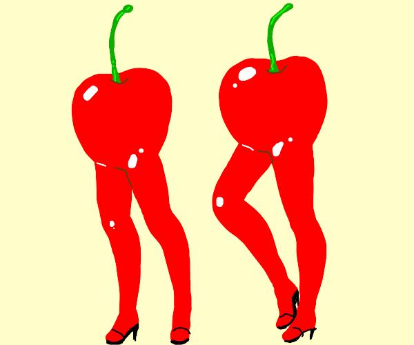 Cherries with female legs