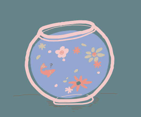 Flowers in a fish bowl