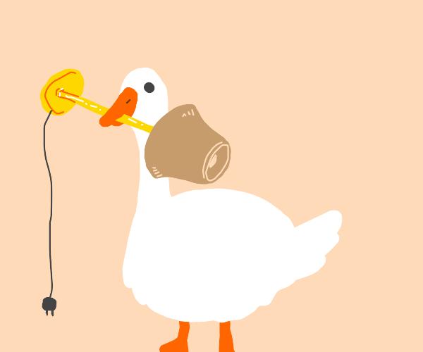 Duck holding lamp