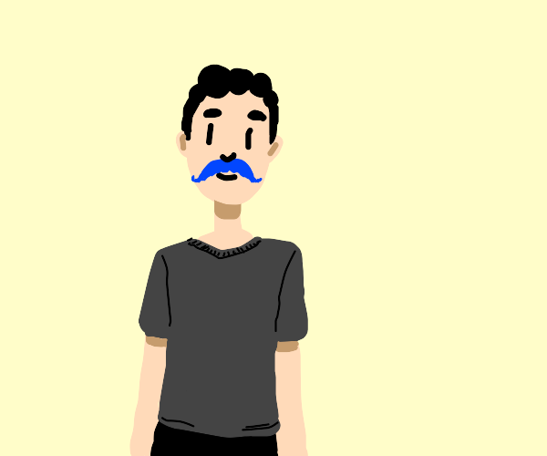 Man with blue mustache