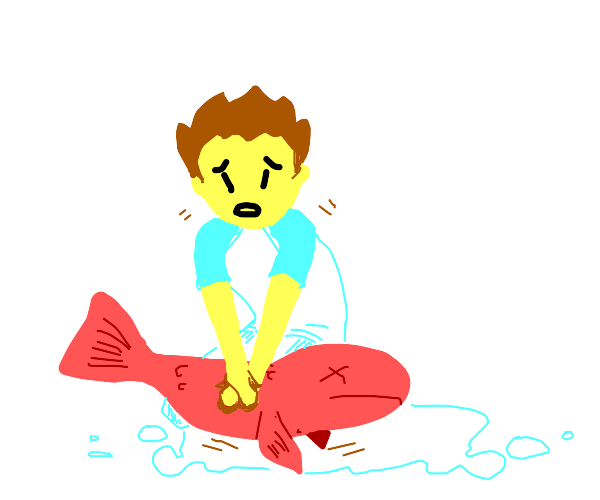 boy giving his dead fish cpr