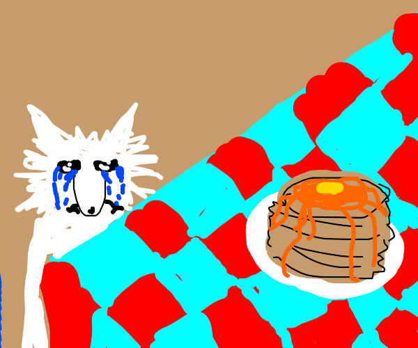dog crying while near a pancake stack
