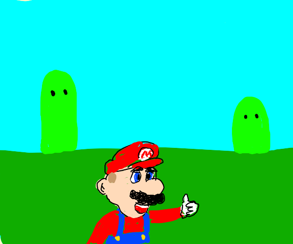 mario smiling with blue background
