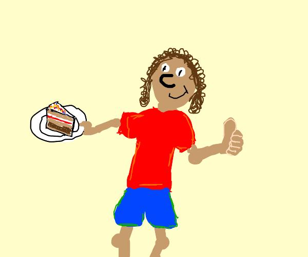 Man holding a birthday cake