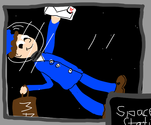 A post dude in space