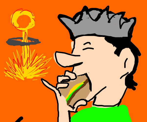 Man eats burger like its the end of the world