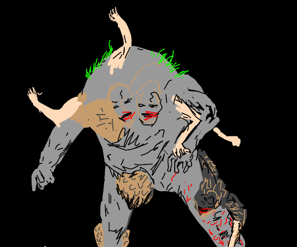 a nightmare golem with humans merged together