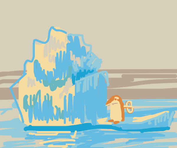 wind up penguin next to iceberg