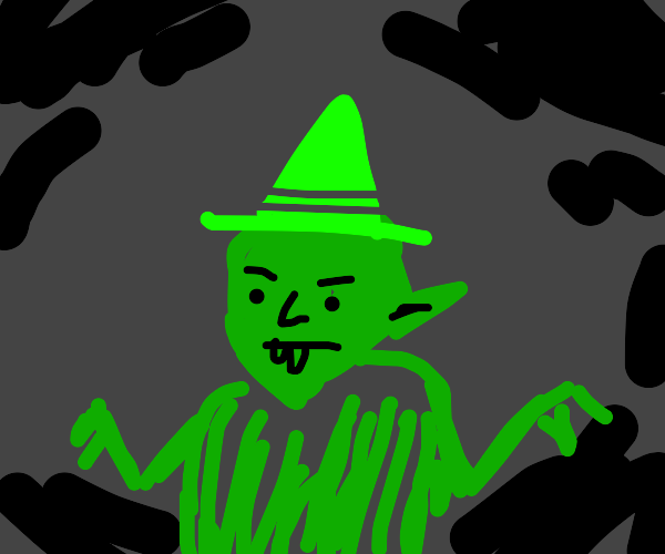evil goblin with a green hat