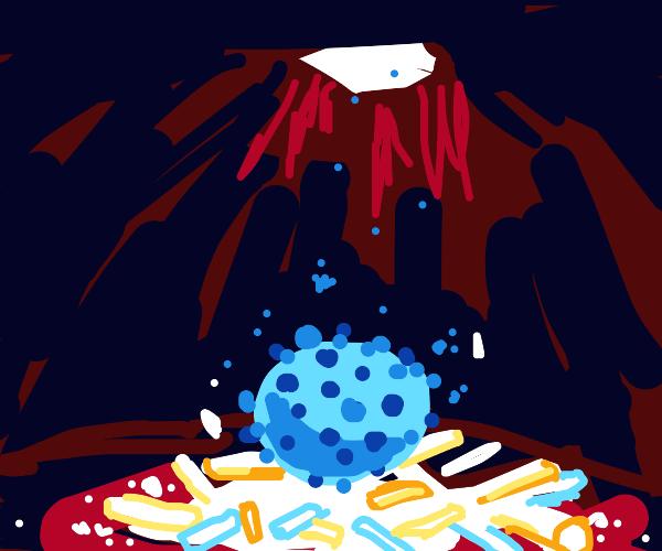 Pile of chalk breaks blue virus' fall in hole