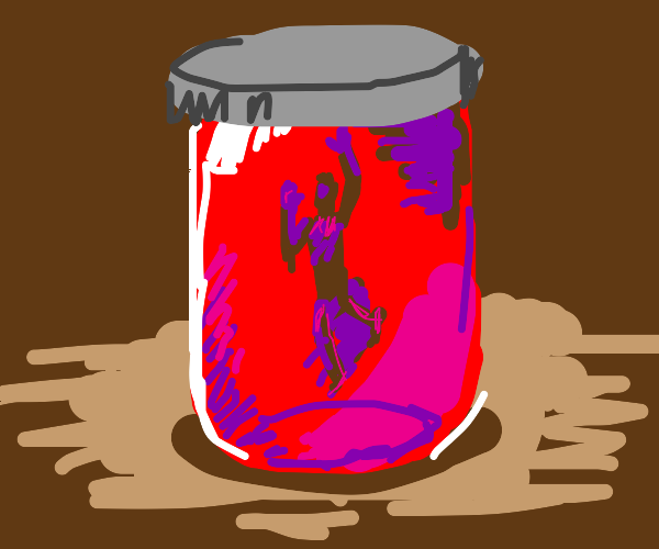 Person trapped in a jar of raspberry jelly