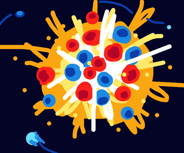 Exploding atom.