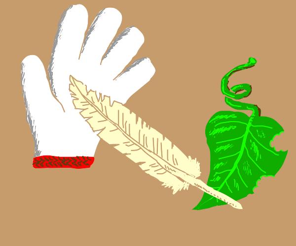 Glove feather leaf