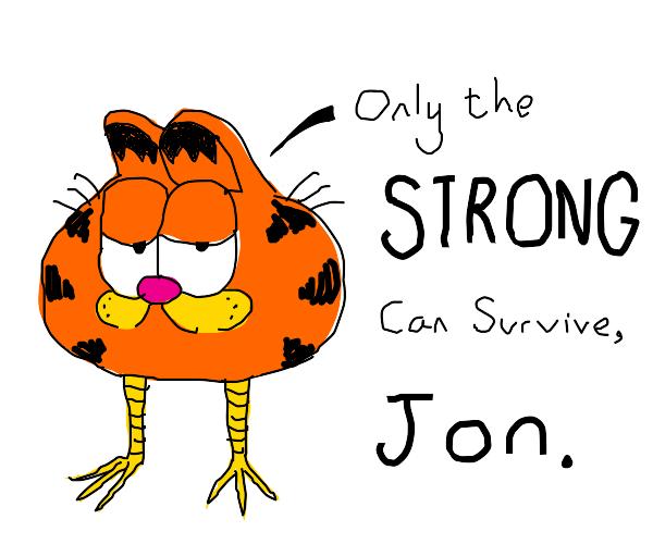 Garfield Head With Bird Legs Talking To Jon Drawception