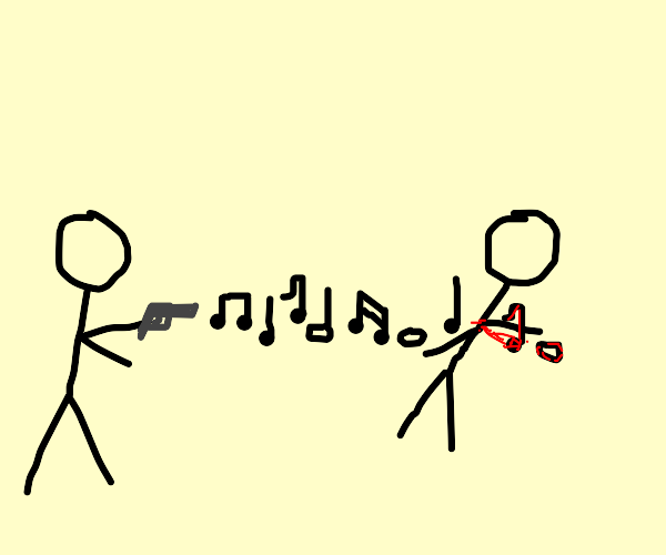 man being shot by music